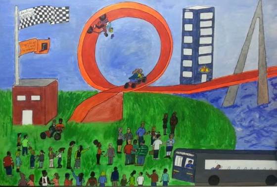 This Friends of Island Academy mural was created and painted by Mr. Anthony DeJesus, a youth leader.