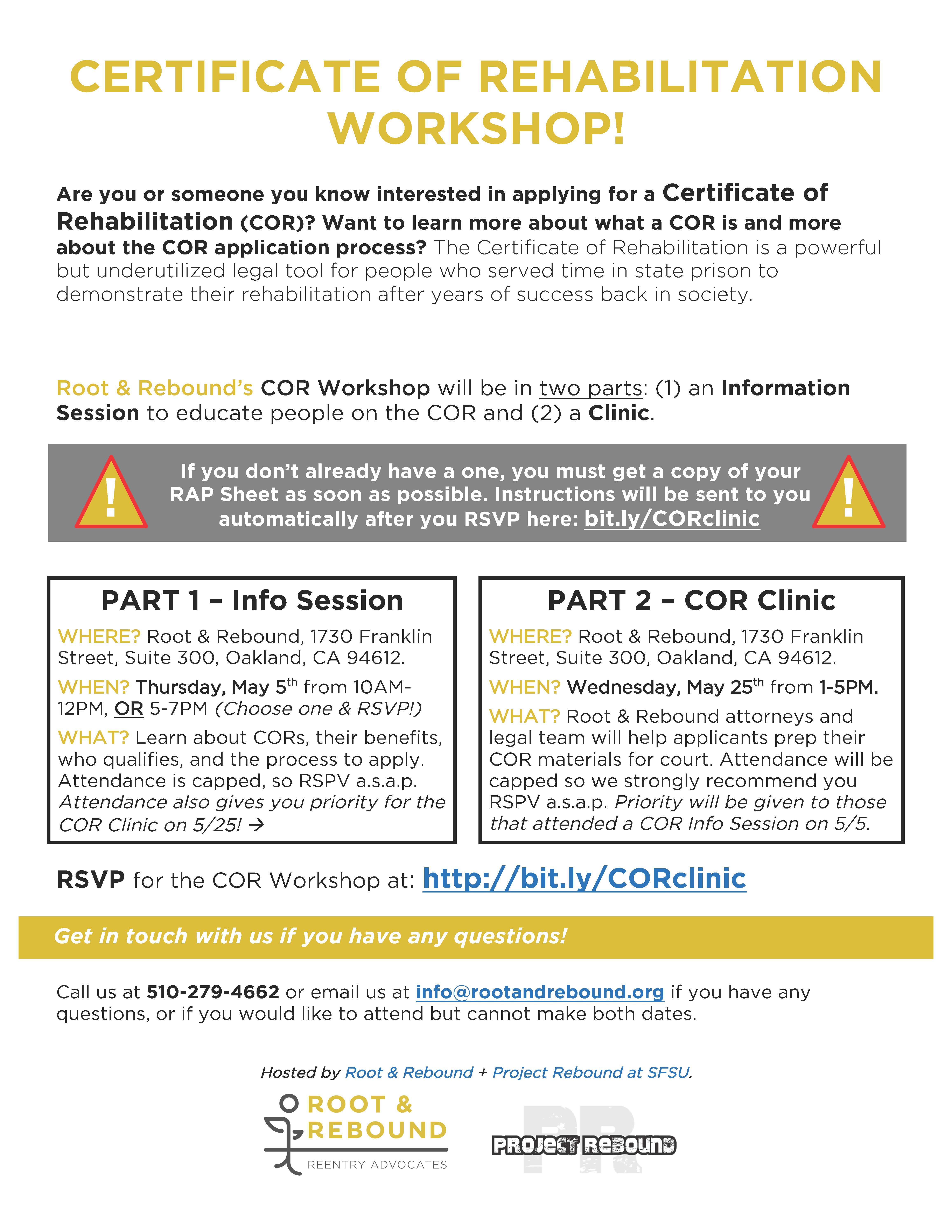 Certificates Of Rehabilitation Workshop Clinic Root Rebound